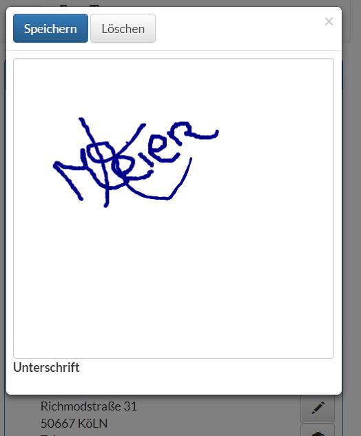 Fahrer App - digitalen Unterschrift